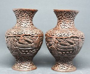 Antique Chinese Export Pair Brown Cinnabar Vases 6 Inches Tall