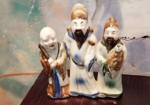 Antique Chinese Porcelain Figurine Sanxing Fu Lu Shou Attached Signed