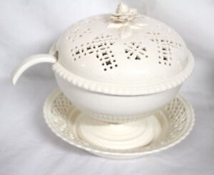 White Ceramic Tureen With Ladle And Underplate Floral And Punched Design