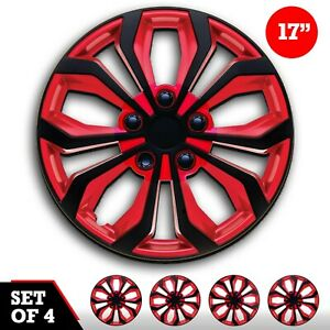 Set 4 Hubcaps 17 Wheel Cover Spa Black Red Abs Easy To Install Universal Fit