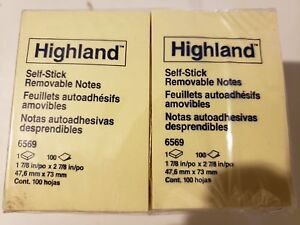 Lot 72 Pads Highland Yellow Self Stick 2 X 3 Inch Sticky Notes 7200 Post It