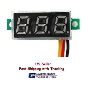 Mini Dc Voltmeter Led 3 digital Display Panel With 2 Wires Us Seller Fast Ship