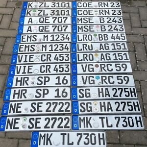 2 Used Real Authentic European License Plates Euro Plates Matching Pair