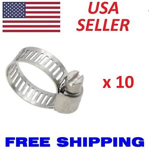 10pcs Stainless Steel Metal Hose Clamps Adjustable Band Fit All 1 4 5 8 3 4