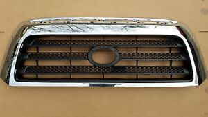 Fits 2007 2009 Toyota Tundra Sr5 Front Bumper Grille Black Chrome New