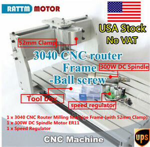 Us 3040 Cnc Desktop Ball Screw Milling Machine Frame Wood Router 300w Dc Spindle
