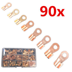 90x Copper Auto Battery Lead Cable Connector Terminal Open Lugs Wire 10a 100a Ot