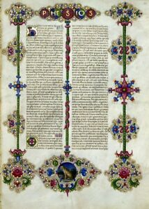 Bible Of Borso D Este Illuminated Manuscript Accents In Gold New Gift Set