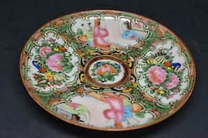 Antique Chinese Export Rose Medallion Plate 5 25 Inches Wide