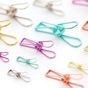 5 10 50pcs Metal Long Tail Hollow Out Metal Binder Clips Colorful Paper Clip