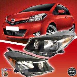 Fit 2012 2014 Toyota Yaris Hatchback Black Headlights Headlamps Left right Set