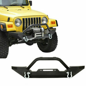 Front Bumper Guard Winch Plate D ring Rock Crawler For 86 06 Jeep Wrangler Tj Yj