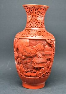Vintage Chinese Cinnabar Vase 7 75 Inches Tall