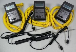 Lot 3 Pacer Pt2000 Digital Thermometers Type K 0 2000f W Probes