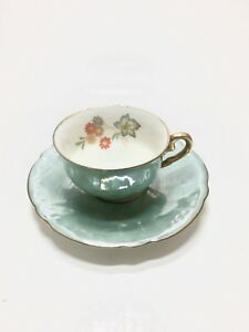 Vintage Made In Germany Us Zone Porcelain Tea Cup Saucer Aqua Flowers W Gold