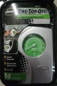 SLIME Tire Inflator With LED Light Guage  Ballnozzle inflator tips case.