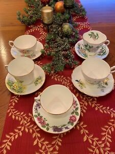 Vintage Lot Of 5 Fine Bone China Tea Cup And Saucer Sets Floral