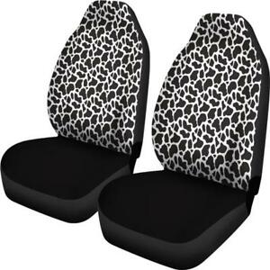 Cow Animal Print Car Seat Covers And Car Floor Mats Black And White Print