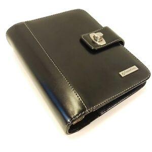 Franklin Covey Compact Black Leather Planner Binder Organizer