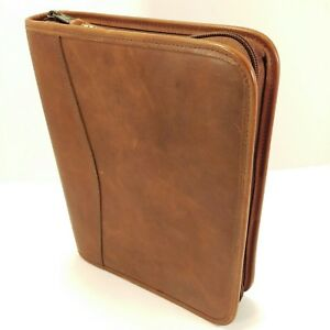 Day timer Distressed Leather Classic Desk Zipper Planner Daytimer Franklin Covey
