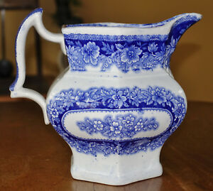 Flow Blue Ironstone Transferware Pitcher J Clementson Nocosia Staffordshire