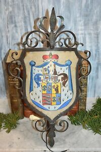 Antique Cast Iron Light Fixture Sconce Medieval Heraldic Crest Crown Knights