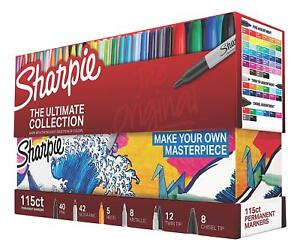 Sharpie Permanent Markers Ultimate Collection Assorted Tips And Colors 115 Pack