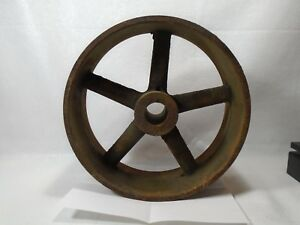 Old Antique Cast Iron Flat Belt Pulley Tractor 5 Spoke