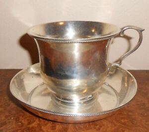 Rare 1840s American Coin Silver Cup Saucer W Hand Dagger Crest 346 Grams