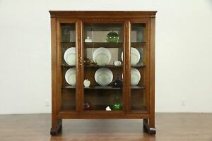 Oak Quarter Sawn Antique China Display Cabinet Or Bookcase Wavy Glass 30157