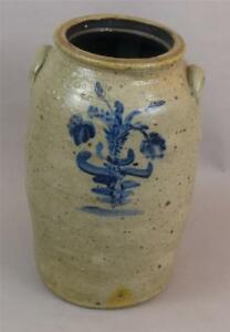 Antique Decorated 6 Gal Stoneware Churn Ohio Signed Lambright 18 Tall