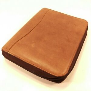 Franklin Covey Brown Leather Spacemaker Classic Planner Zip Binder