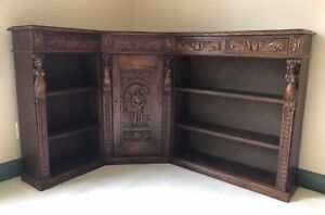 Corner Antique Oak Bookcase 1890s With Hand Carved Figures And Dovetail Joints