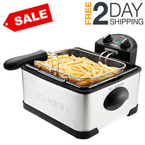 Commercial Deep Fryer With Basket Timer Drain French Electric Stainless Steel