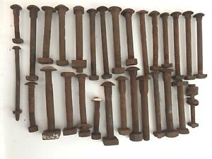 Antique Iron Steel Carriage Bolts Square Nuts Mixed Sizes Styles