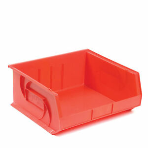 Plastic Stacking Bin 16 1 2 w X 14 3 4 d X 7 h Red Lot Of 6