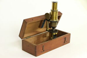 English Antique Brass Microscope Mahogany Case 30194