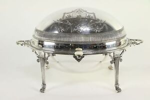 English Antique Silverplate Oval Dome Serving Dish Engraved Crest 30213