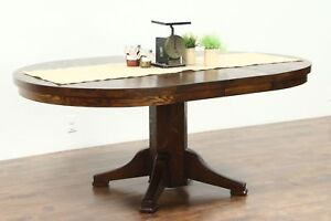 Round Solid Oak 1910 Antique 45 Craftsman Dining Table 2 Leaves