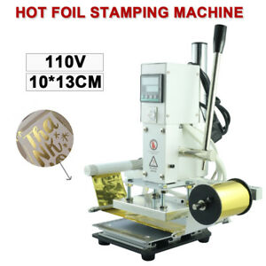 300w 10 13cm Hot Foil Stamping Machine Automatic Leather Craft Press Emboss Top