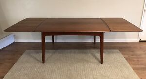 Svend Madsen For K Knudsen Draw Leaf Dining Table Danish Mid Century