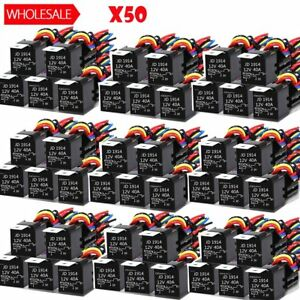 50x Dc 12v Car Spdt Automotive Relay 5 Pin 5 Wires W harness Socket 30 40 Amp Bt