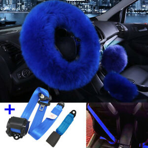 Blue Set Faux Wool Car Steering Wheel Cover 3 point Safety Seat Belt Buckle