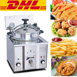New Commercial Electric Countertop Pressure Fryer 16l Stainless Chicken Fish Dhl