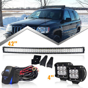 960w 42inch Led Light Bar Dual Rows White Strobe Driving Lamp Wiring Kit