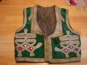 Ottoman Turkish Metallic Thread Embroidered Yelek Vest Green