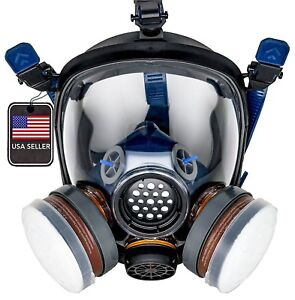 Pd100 Full Face Gas Mask Respirator Astm Cert N95 Heavy Duty Filtration System