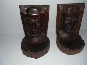 Black Forest Antique Heavy Hard Wood Bookends 8 1 4 Xd 5 3 4
