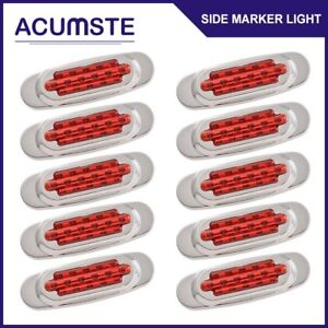 10pcs 6 5 Red 16 Led Side Marker Clearance Light Lamps Truck Rv Boat Trailer
