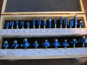 Router Bit Bits Set Blue Nice Box Pics New 24 Piece Handy Toughest Woodworking